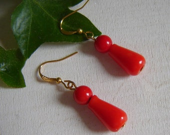 Coral earrings - tree coral Underwire in 925 Silver - gold plated