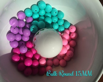 15% off SALE!!!! use code SUNSHINE15 code at checkout Bulk Round 15mm Silicone beads (choose quantity in drop down)