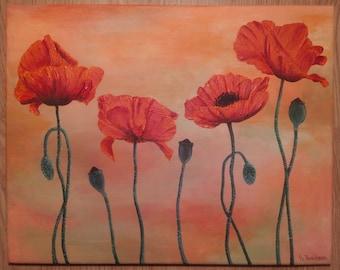 Poppy flowers . Red poppy oil painting ORIGINAL poppy still life flower artwork . Wall decor . Original Oil Painting . Worldwide shipping
