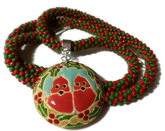 Red Cardinals In A Holly Berry Wreath Ceramic Pendant On A Kumihimo Necklace