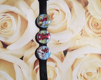 Leather comic character bracelet