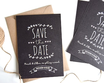 Rustic Chalkboard Wedding Save The Date Card SAMPLE ONLY