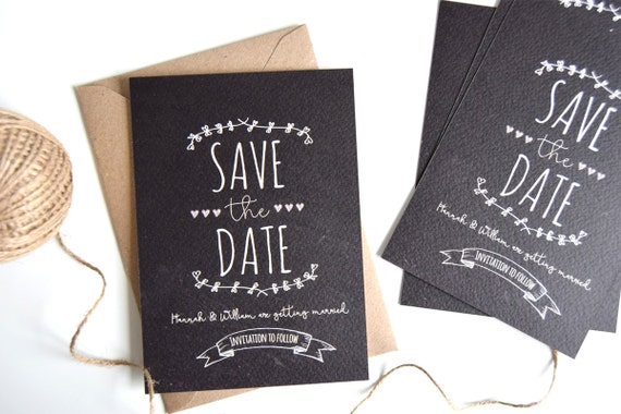 Rustic Chalkboard Save The Date Sample