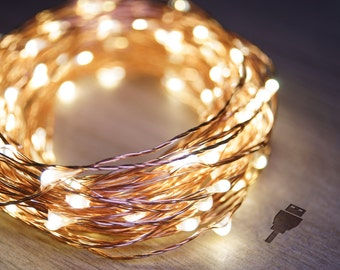 5m Copper String Fairy Lights (Warm White) | USB