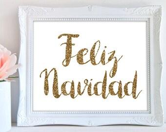 50% OFF Feliz navidad PRINTABLE, printable feliz navidad sign, spanish christmas printable,spanish party printables,glitter,INSTANT download