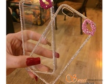 Cell Phone Cases For iPhone 7 7s for iphone 7 7s plus for iphone 5 5S 6 6S 6plus with Crystal Lip Chain Rhinestones