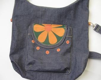 Denim bag with flowers