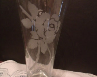Clear Glass Vase with Etched Roses on both sides, (# 622/28)