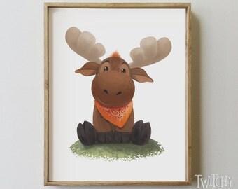 Baby Moose Art // Moose Print // Nursery Room Art // Woodland Creatures // Moose Decor // Moose Art // Instant Download & Print
