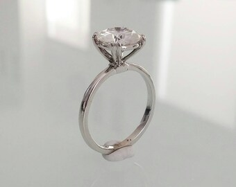 Split Prong Thin Solitaire with 2 CT Harro Gem Moissanite