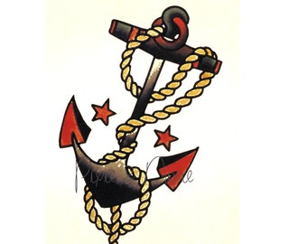 SAILOR JERRY Style Vintage Anchor- Temporary Tattoo| |  Americana | Navy | Marine | vintage design