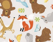 Grey Baby Animals Flannel from the Sweet Meadow Flannel Collection by Arrolyn Weiderhold for Wilmington Prints
