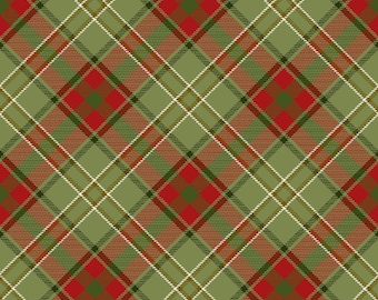 """End of Bolt, Green Red Plaid Cotton Fabric from the Moose Lodge Collection by Henry Glass 25""""x44"""""""