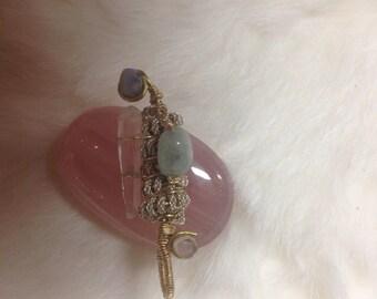 Morganite/Australian Opal/Aquamrine/Lemurian Quartz/ wire wrapped pendant