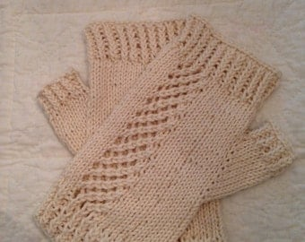 Casual Cashmere Fingerless Gloves, handknit USA women's, cotton and cashmere, natural colo