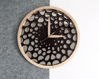 Wooden wall clock - Unique wall clock - Black wall clock - Circle wall clock - Silent wall clock - No ticking sound clock