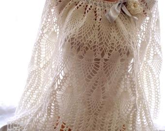 crochet shawl, lace shawl, white shawl, white lace shawl, handmade shawl, bridal cover up