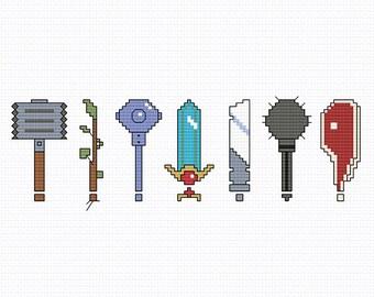 Weapons (Castle Crashers) Cross Stitch Pattern (PDF)