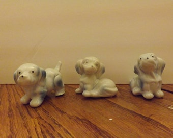 porcelain puppies white with blue accent