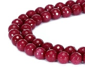 Ruby Color Jade Faceted Round Loose beads 15.5'' Long Per Strand Size 6mm/8mm/10mm/12mm.R-F-JAD-0140