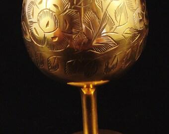 Vintage Ornamental Brass Goblet