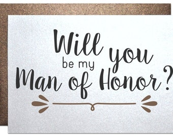 Rustic wedding, man of honor card, wedding invitation, will you be my man of honor, card,  recycled wedding, from bride