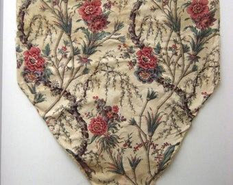 Antique Beautiful 19th C. French Exotic Floral Print Fabric (9529)