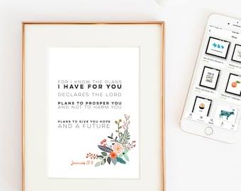 Jeremiah 29 11 print | instant download | Bible verse wall art | Scripture wall art | digital download art print | bible verse art print