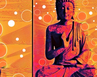 Colourful print with buddha and circles and lines in orange and red
