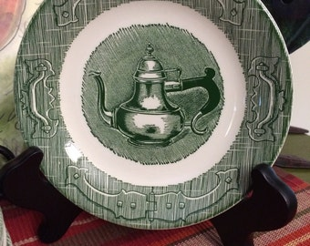 Vintage Royal China Old Curiosity Green Transferware Set of 8 Small Plates Kettle abd Hinge Pattern