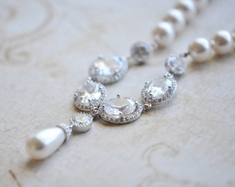 Crystal and Pearl Bridal Necklace Wedding Necklace Swarovski Pearls and cz Necklace