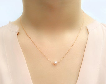 Rose Gold Pearl Necklace / Elegant Pale Pink Freshwater Pearl Necklace / June Birthstone / Good for Birthday, Bridesmaid and Sisters