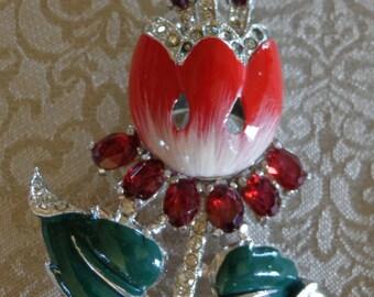 Vtg enamel red rhinestones crystal tulip brooch pin