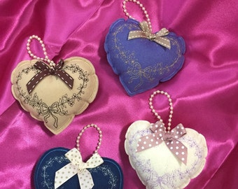 Embroidered hearts to hang