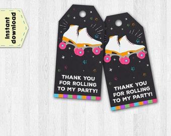 Roller skating tags - Roller skating thank you tags - Roller skating chalkboard tags - Roller skating party tags - Roller skating favors
