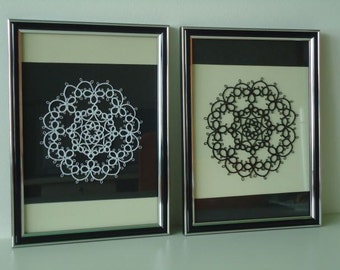 Positive And Negative, Tatted Framed Lace, Black And White, 1 pair, A4