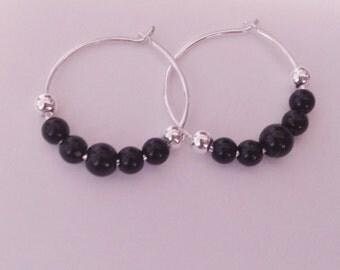 black Jasper gemstones, sterling silver hoops, silver plated beads, less than 3/4 inch diameter