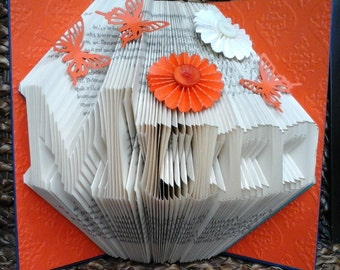 Folded Book Art Any Name Folding Sculpture Orange Plain/Embellished/Embossed Birthday Christmas Anniversary Wedding New Baby Valentine