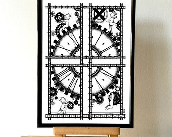 "Poster Illustration ""Clock"" by Cozaz"