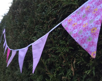 Pink and white bunting
