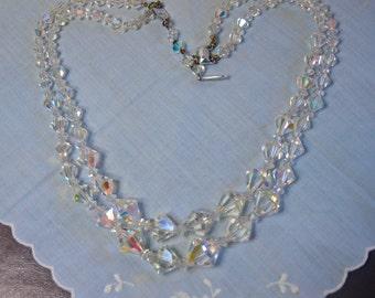 Vintage, 1950s, Aurora Borealis Bicone Necklace (2394)