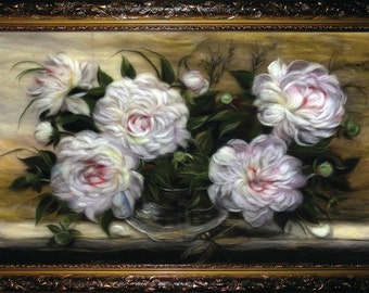 """Wool painting """"White Peonies"""" , a bouquet of flowers, gift for birthday"""