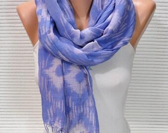 blue scarf  batik scarf  shawl pareo