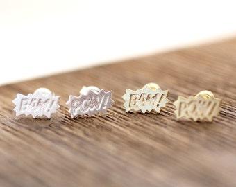 Comic BAM POW stud earrings in gold / silver