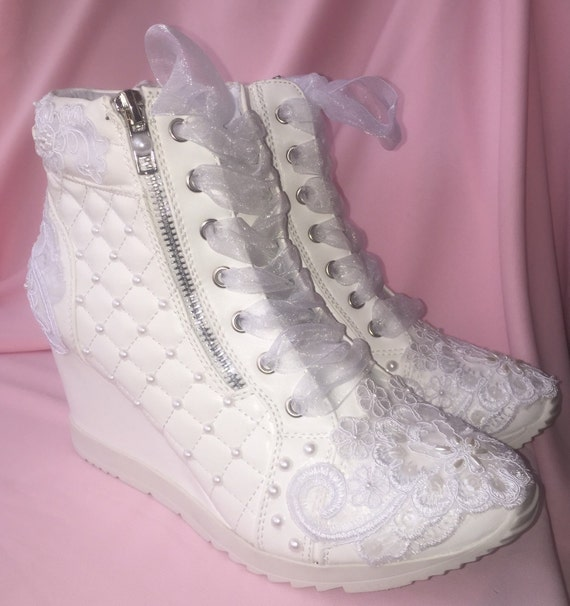 wedding shoes wedge sneakers bridal shoes by weddingshoeheaven