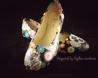 Customised sugar skull flat shoes.