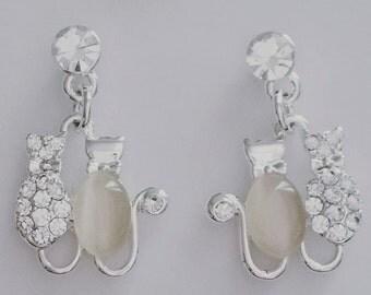 Silver plated earrings gato