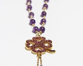 Purple Clover Necklace