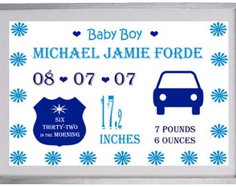 Baby boy details word art print