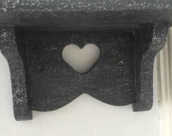Heart glitter sparkle shelf painted Annie Sloan Graphite Dark Grey kitchen girls bedroom boys bedroom etc